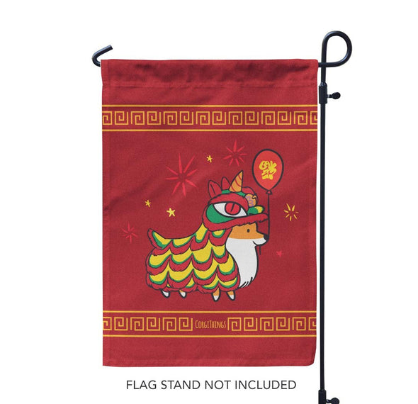 """Lunar New Year"" Corgi Garden Flag"