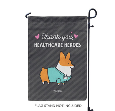 "NEW! ""Healthcare Heroes"" Corgi Garden Flag"