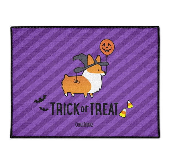"""Witchy Corgi"" Trick-or-Treat Floor Mat 