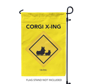 """Corgi Crossing"" Garden Flag"