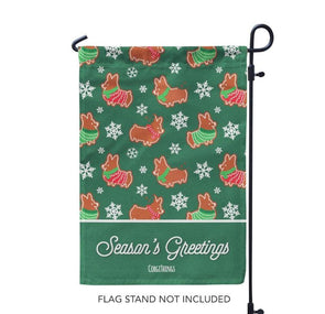 """Gingerbread Corgis"" Green Garden Flag 