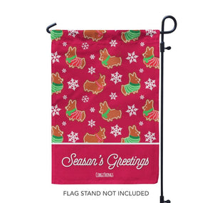 """Gingerbread Corgis"" Red Garden Flag 