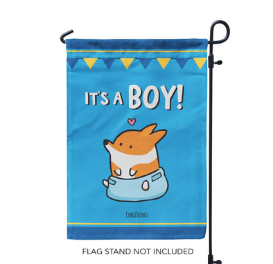 """It's A Boy"" Corgi Garden Flag"