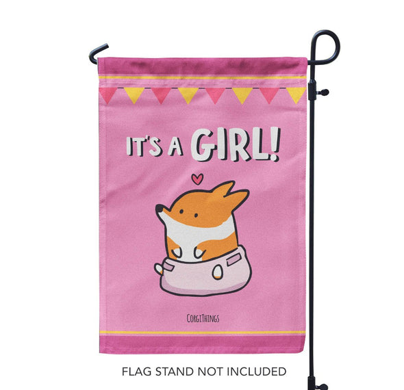 "NEW! ""Baby Girl"" Corgi Garden Flag"