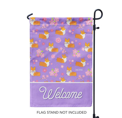 "NEW! ""Cherry Blossom"" Corgi Garden Flag"