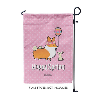 "NEW! ""Hoppy Spring"" Corgi Garden Flag"