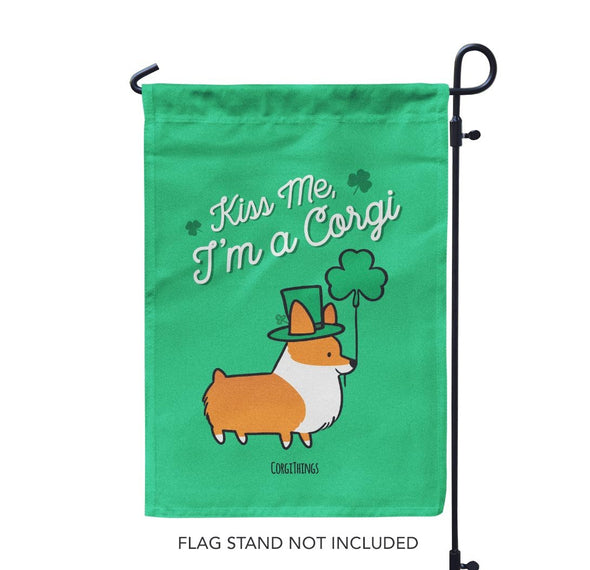 """St Patricks Day"" Corgi Garden Flag"