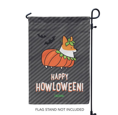 """Corgi Howloween Pumpkin"" Garden Flag 