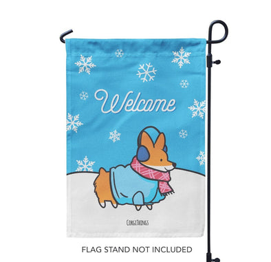 """Welcome Winter"" Corgi Garden Flag"