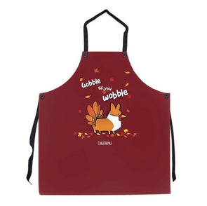 """Gobble 'Til You Wobble"" Corgi Apron 