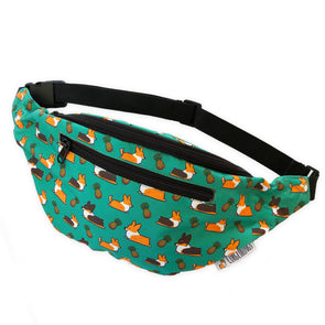 "NEW! ""Pineapple Corgis"" Green Fanny Pack"