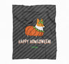 """Corgi Howloween Pumpkin"" Fleece Blanket 