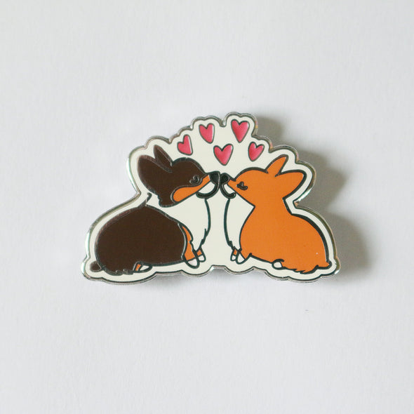 Corgi Kisses Enamel Pin | Corgimoji Collectible Series