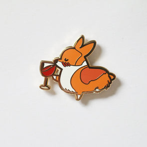 I Heart Wine Corgi Enamel Pin | Corgimoji Collectible Series