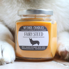 Mythos Candles 8oz Fairy Steed (Peach & Red Ginger Saffron) Soy Candle