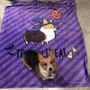 """Witchy Corgi"" Fleece Blanket 