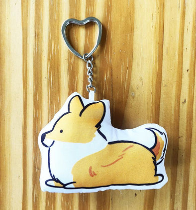 NEW! Sploot Corgi w/ Tail Pillow Keychain