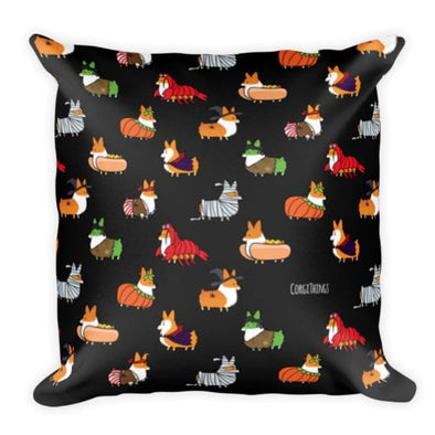 """Corgis in Costumes"" 18x18 Square Pillow 