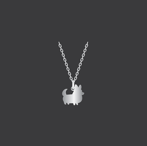 PREORDER: Corgi Things Necklace | Corgi With Tail | Sterling Silver