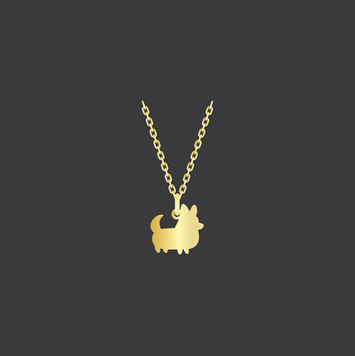 PREORDER: Corgi Things Necklace | Corgi With Tail | GoldFilled