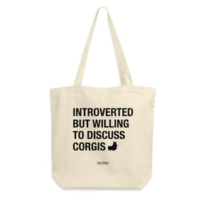 "NEW! ""Introverted"" Corgi Canvas Tote Bag"