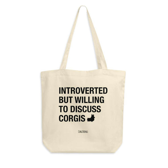 """Introverted"" Corgi Canvas Tote Bag"