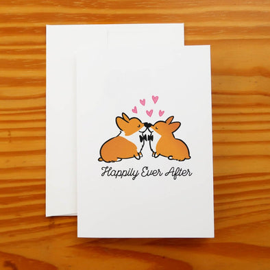"""Happily Ever After"" Corgi Wedding Greeting Card 