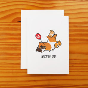 I Woof You Dad Corgi Greeting Card