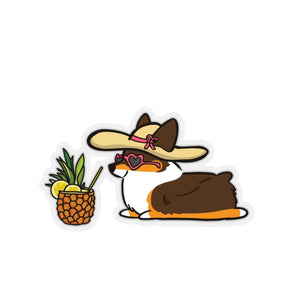 """Pineapple Drink"" Tricolor Corgi Sticker"