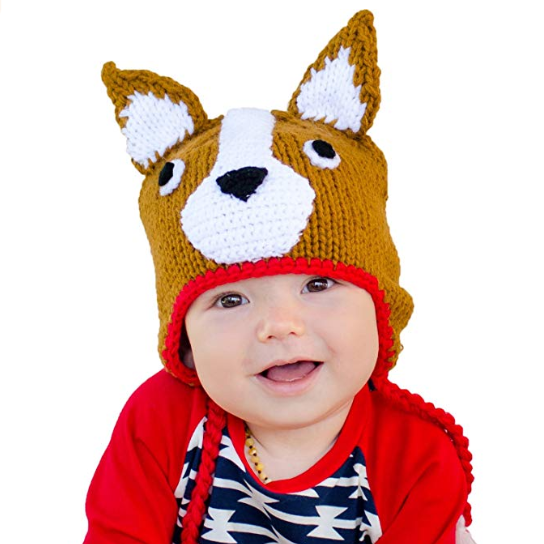 Huggalugs Boys or Girls Corgi Dog Beanie Hat