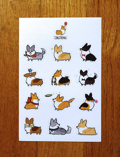 Mixed Corgis Vinyl Sticker Sheet