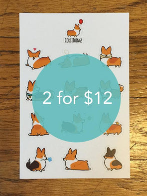 2 Pembroke Corgi Sticker Sheets $12 | Mini Vinyl Stickers