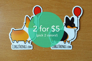 PICK 2 FOR 5 USD | Corgi Stickers | Vinyl Stickers | Tri-color Corgi