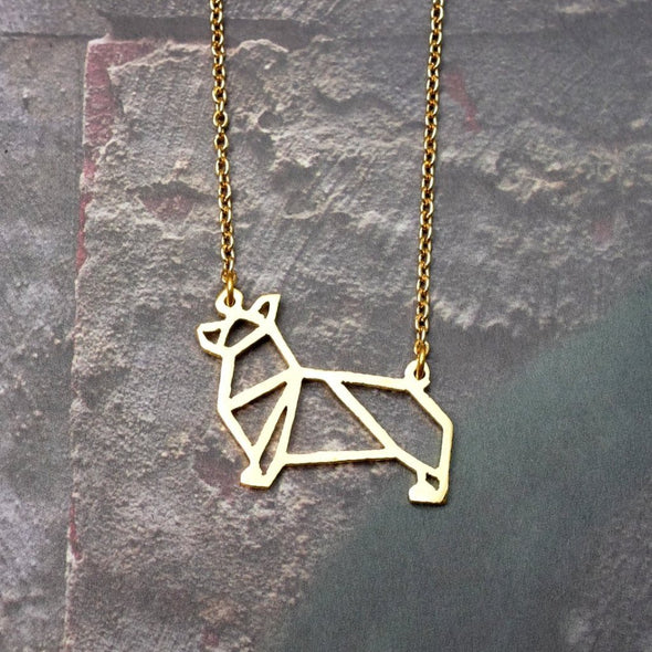 Origami Geometric Corgi Necklace
