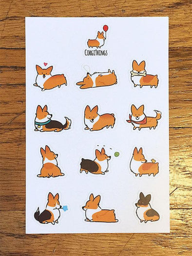 Red Pembroke Corgi Vinyl Sticker Sheet