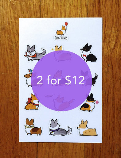 "2 ""Mixed Corgi"" Sticker Sheets for $12 
