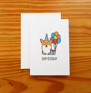 Happy Birthday Corgi Greeting Card