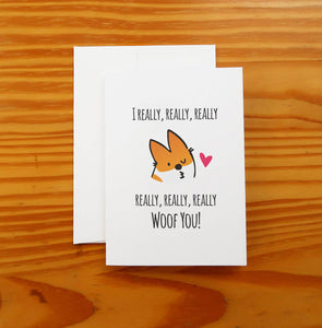 I Woof You Corgi Greeting Card