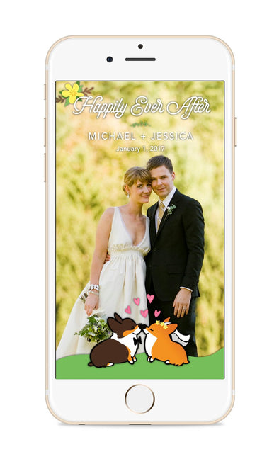 Custom Wedding Corgi Snapchat Geofilter
