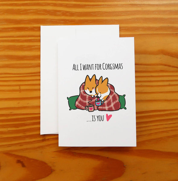 Corgi Christmas Snuggle Greeting Card