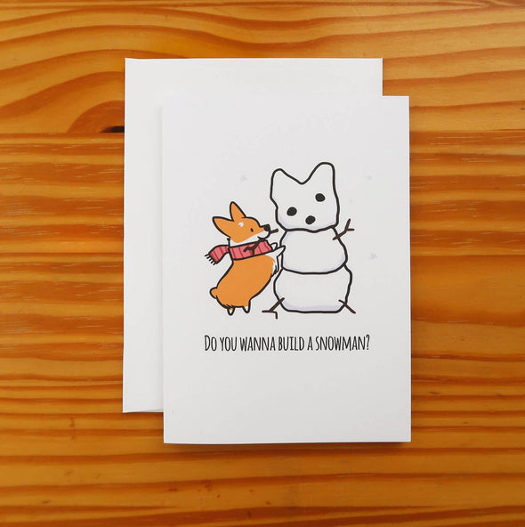 Corgi Snowman Greeting Card