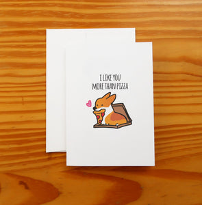 "Pizza Love Greeting Card | 5x7"" Card with Envelope 