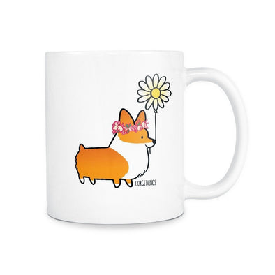 Flower Power Corgi Mug | 11oz or 15oz