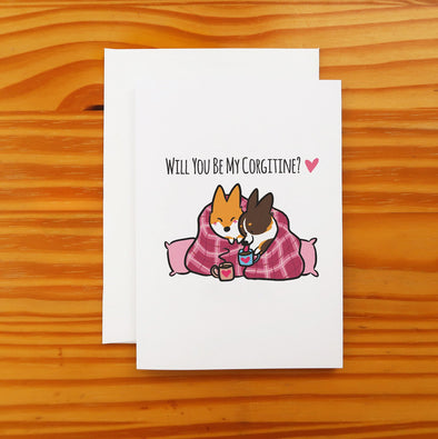 Valentine's Day Snuggle Corgi Greeting Card