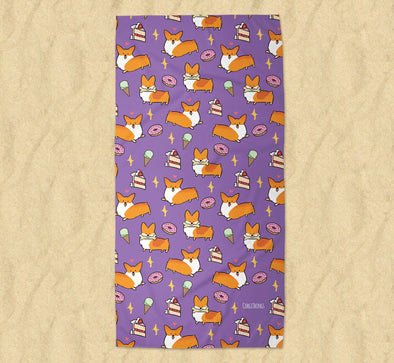 Sweet Treats Corgi Beach Towel