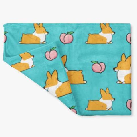 Blue Corgi Sploot Fleece Blanket | 3 Sizes