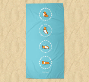 Namaste Corgi Beach Towel