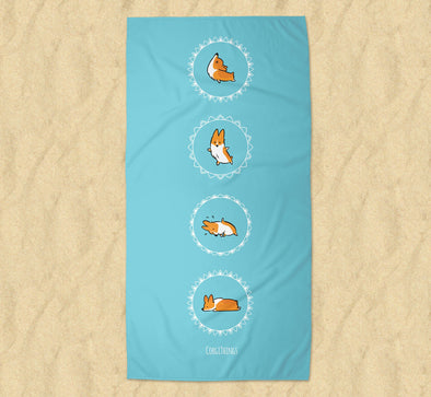Namaste Corgi Beach Towel | 2 Sizes