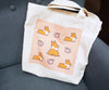 Peach Corgi Canvas Tote Bag | Ready to Ship