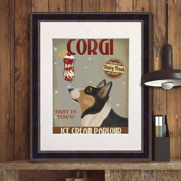 Corgi Ice Cream Parlor Art Print